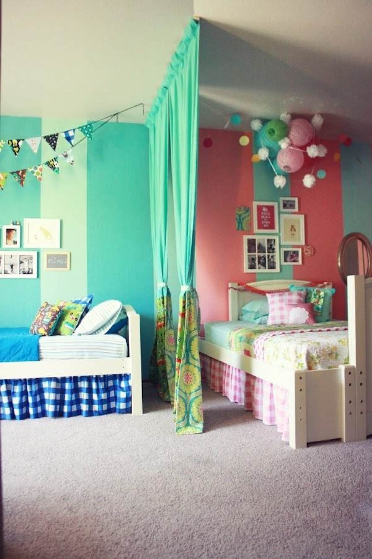 Ikea kids bedroom for siblings with different tastes, half green and half pink