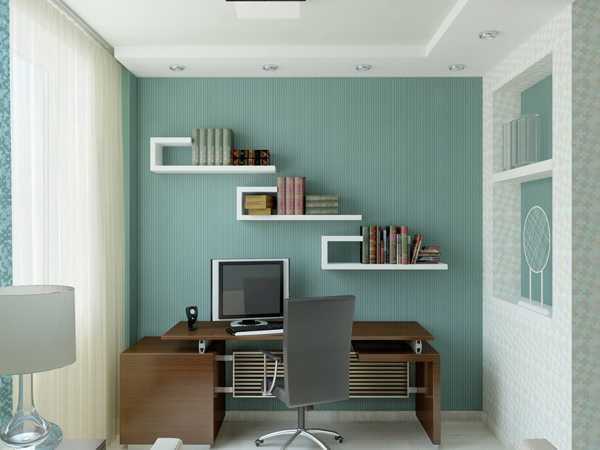 Duck egg blue and white home office with dark wooden desk and swivel chair