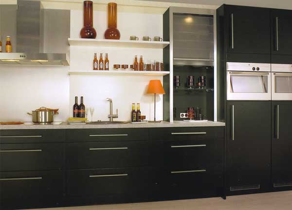 Stylish black Kitchen units with grey counter tops