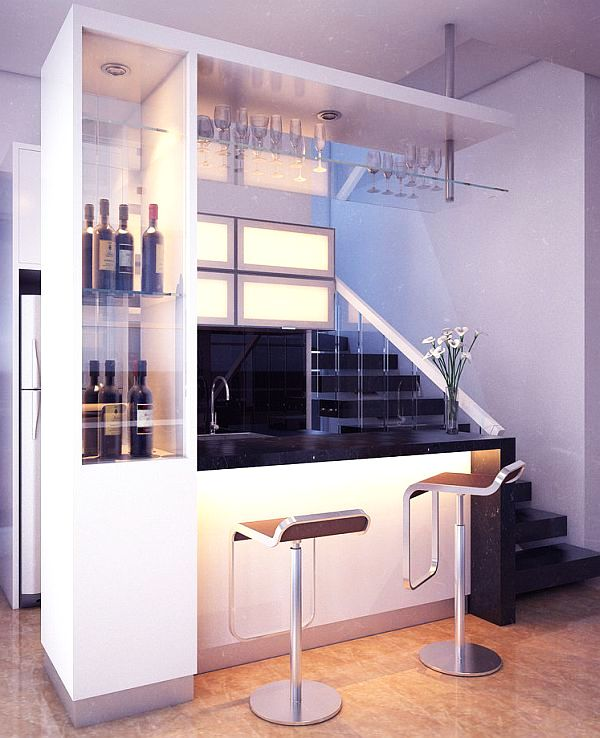 Home minibar unit and drink storage in white with two swivel chairs in front of a black counter top