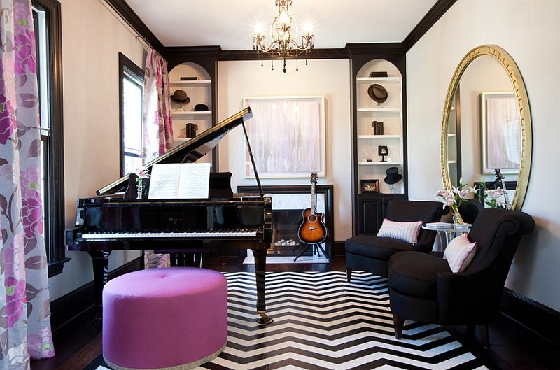 Black, white and purple music room with grand piano and classic guitar