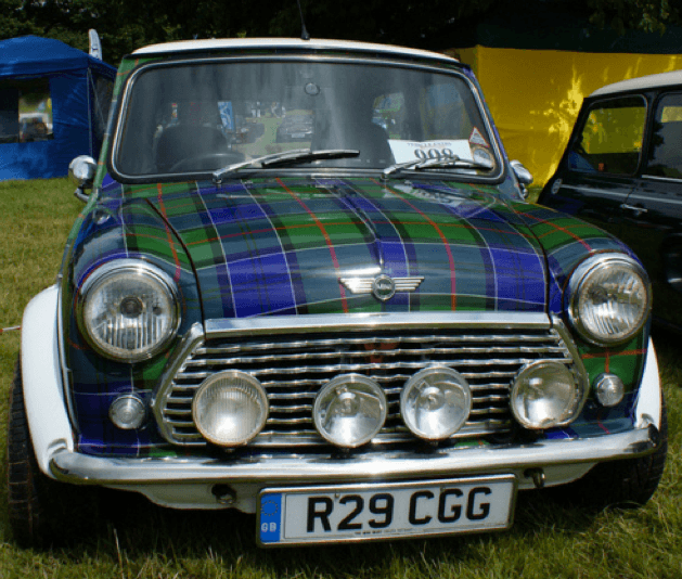 Vintage Mini car with blue and green tartan paintwork