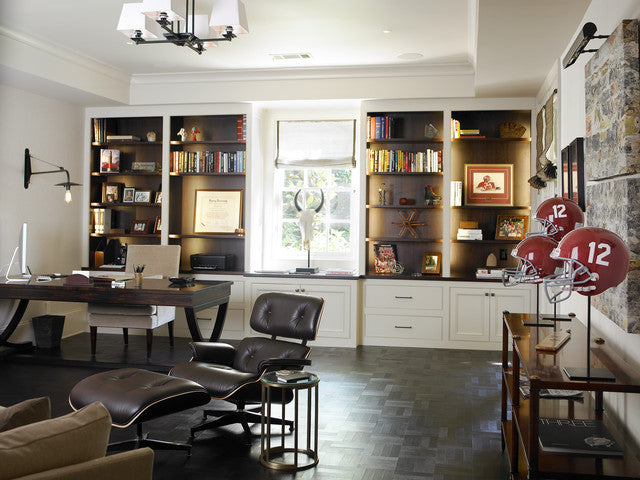 Stylish and classy home office with american football memorabilia