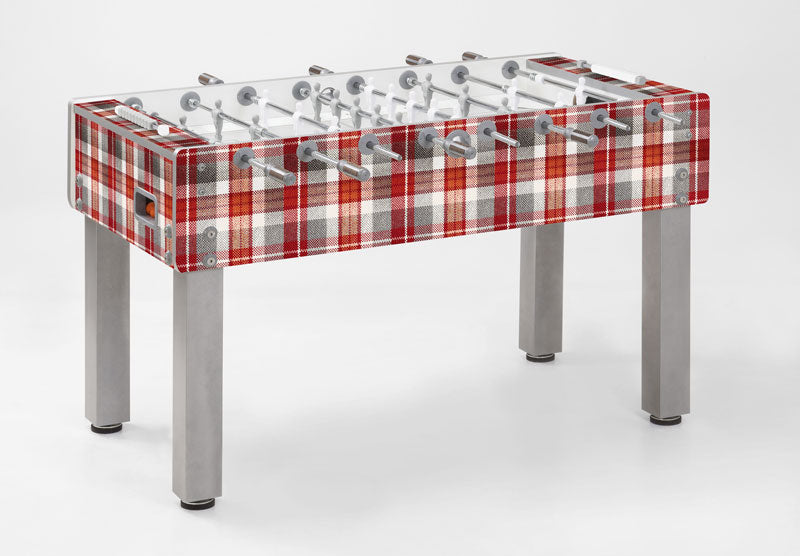Football table with red and grey tartan design