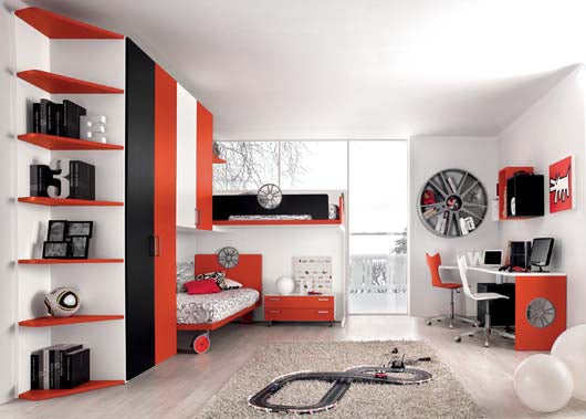 White, black and orange bedroom with Scaletrix on the floor