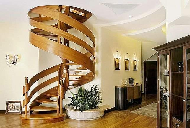 Appealing-spiral-wooden-staircase-design-ideas-with-vintage-nuance