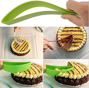 A leaf shaped hollow knife blade for cutting perfect triangles out of cake