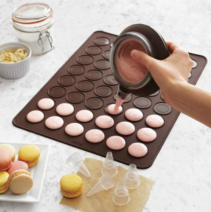 A baking tray for making macarons