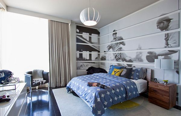 Sports themed bedroom with Baseball wall art and NFL helmet on the desk