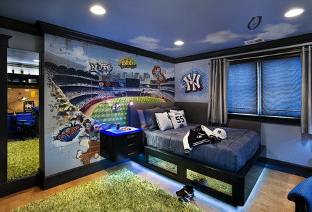 Dark blue kids bedroom with a rugby sports theme