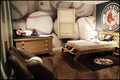 Baseball themed bedroom with wallpaper, rug and catchers mit chair