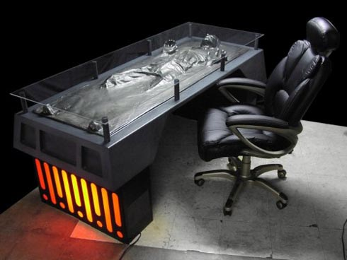 Office Desk Made To Look Like Han Solo Frozen In Carbonite