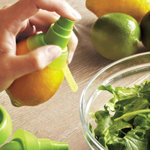 A spray bottle head that pierces an orange, lemon or lime to spray the juice on to salad