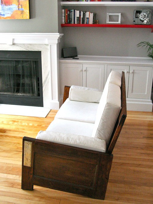 Doors re-purposed to make a frame for a sofa