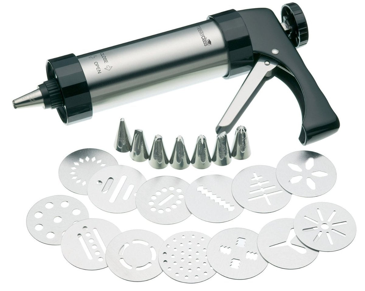 A cake piping gun with different nozzles