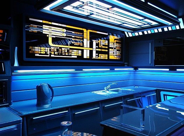 Funky Storage Room With Blue Lights And Replica Console From A Star Trek Ship