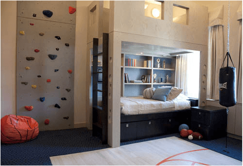 Climbing wall in the bedroom with bunk bed and over bed seating