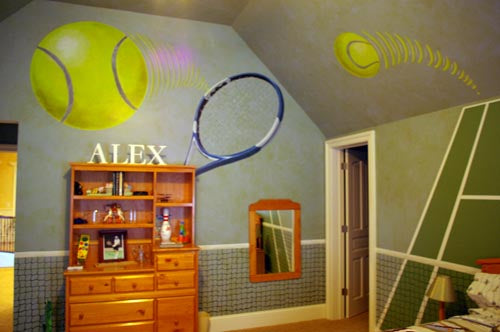 Tennis bedroom with ball and racket wall art