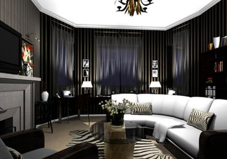 Black and white living room with white curved sofa, black voile panels in the bay window and grey fireplace