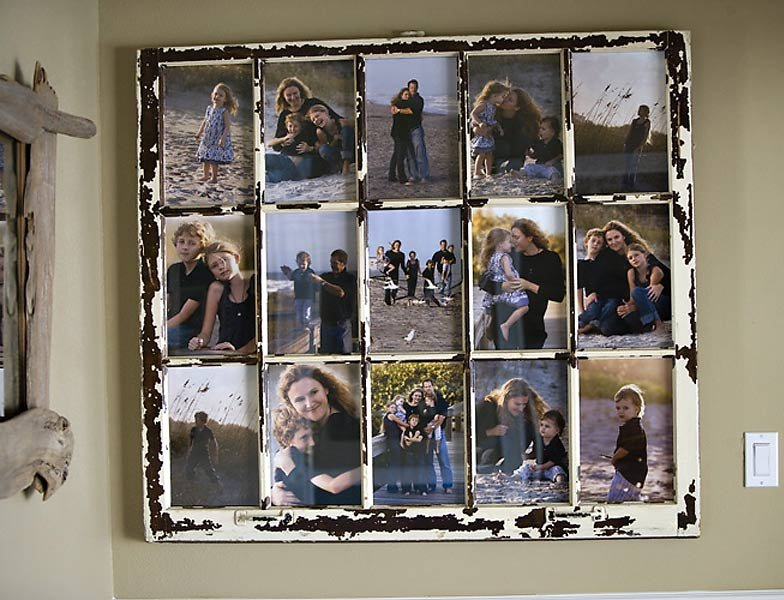 Up-cycled window turned into a collage frame for family photos
