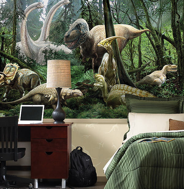 Realistic wall decal of different dinosaurs in a jungle
