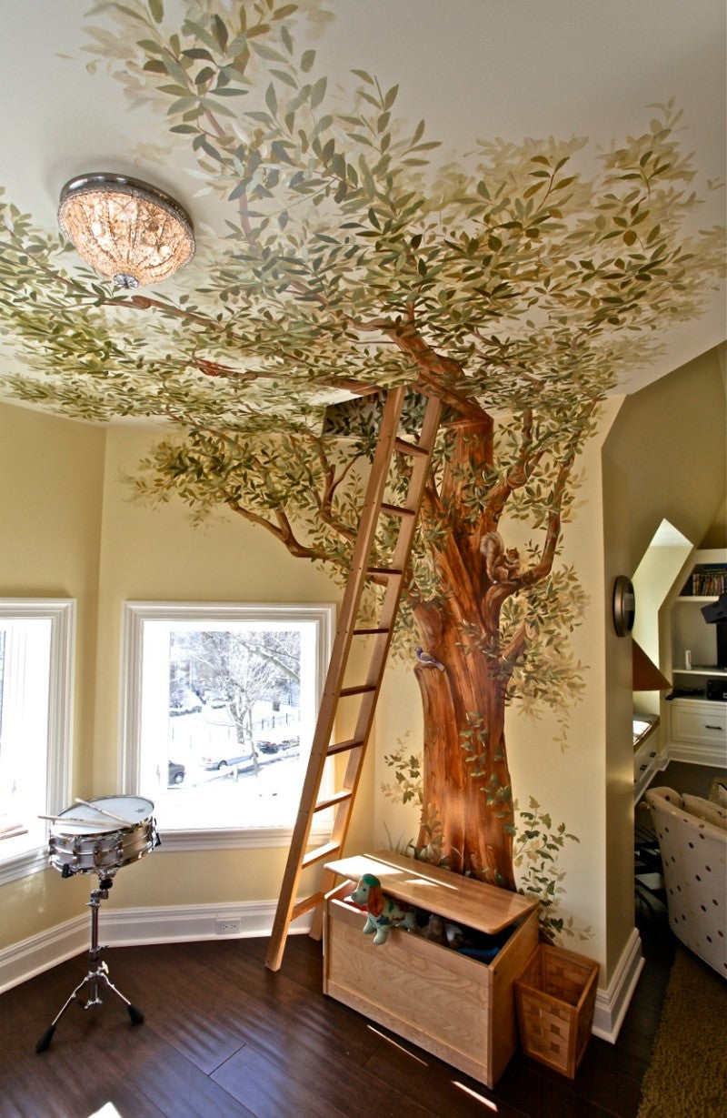 Ladder Perched Against A Mural Of A Tree, Going Into A Den Room