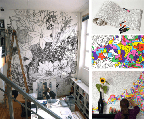 Amazing Black And White Wall Design, Allowing Kids To Colour In The Design