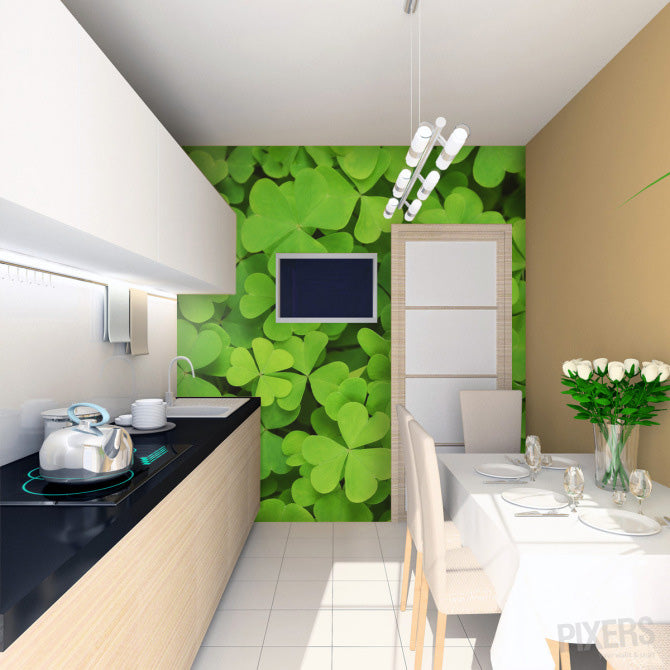 Clover wall decal mural in a small white and cream kitchen