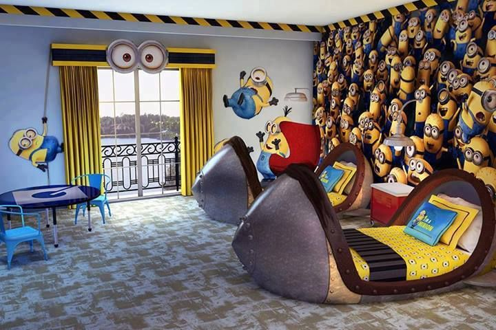 Minions Themed Kids Room, With Matching Beds, Decals And Wall Art