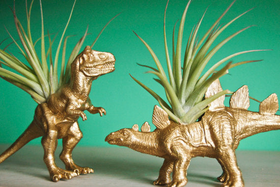 Gold dinosaur shaped plant pots with leafy plants sticking out of their backs