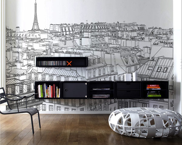 Intricate outline drawing of Paris, used as a full wall decal in a living room