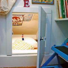 Secret bed space in a cubbyhole