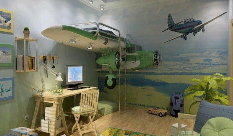 Aeroplane themed bedroom with bunk bed on a plane wing