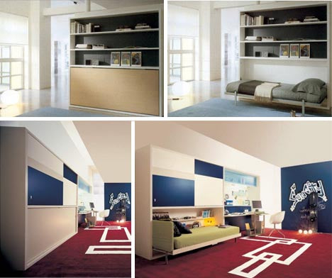Collage of wall unit with fold out hidden bed