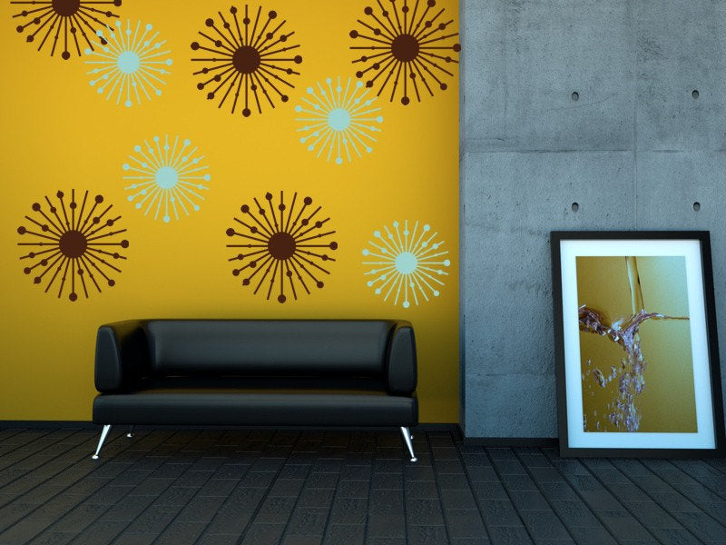 Dark yellow wallpaper with brown and grey dandelion style patterns