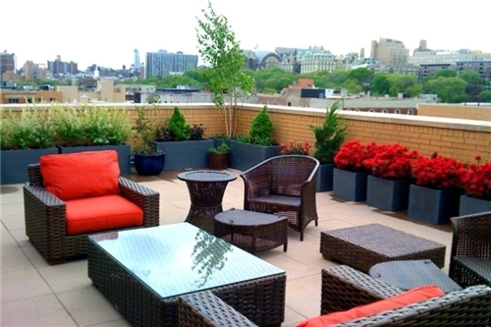 Rooftop garden with outdoor wicker furniture-set