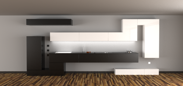 Black and white kitchen units that look like two long Tetris™ blocks against the wall