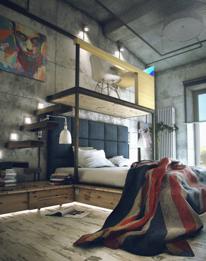 Industrial bedroom with office desk suspended above the head of the bed to save space