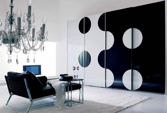 Black and White living room with Yin and Yang symbols