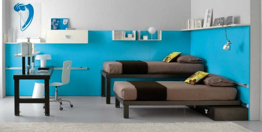 Blue Wall Kids Room with Twin Brown Bed