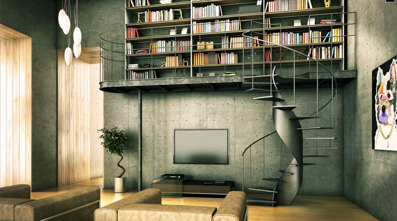 Contemporary industrial library with winding staircase and bookshelves on a mezzanine