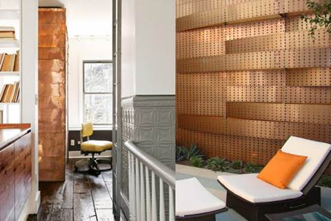 Heavy metal copper wall with panels covered in circle indents