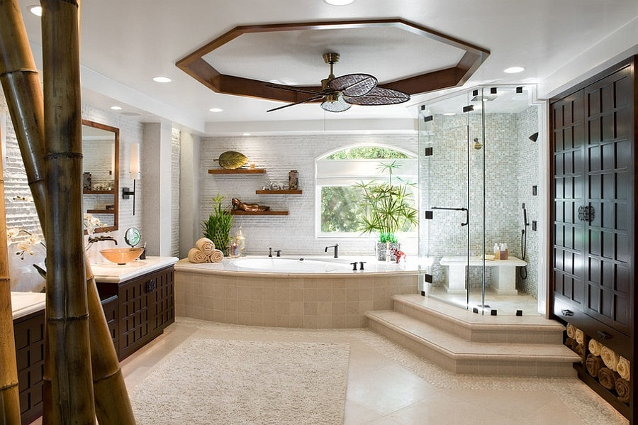 Impressive bathroom with a touch of bamboo goodness