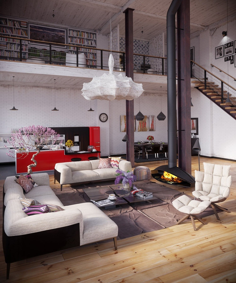 Industrial loft space with high ceiling and mezzanine balcony