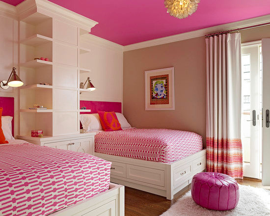 Stunning Bright Pink Bedroom With Twin Bed