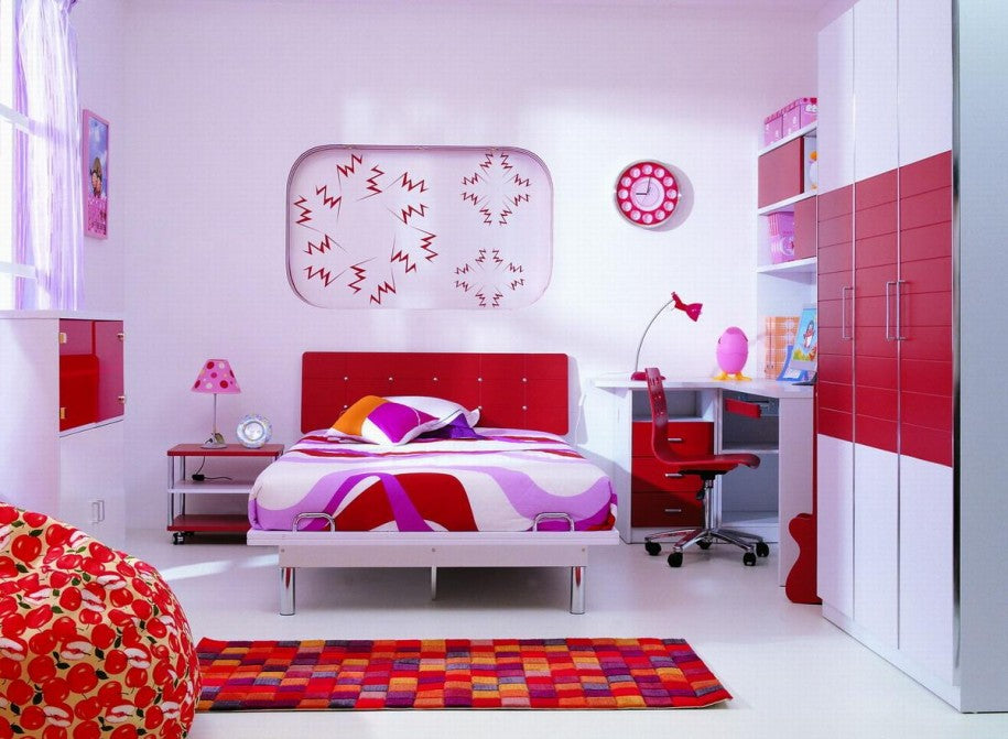 Deep Orange, Purple And Pink Bedroom With Checked Rug And Sectional Units