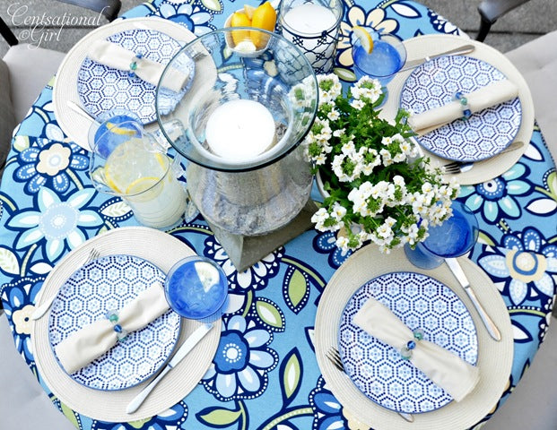 Blue and white floral summer picnic table