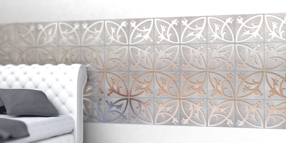 Intricate spiral and circle branch design, behind a bed and headboard