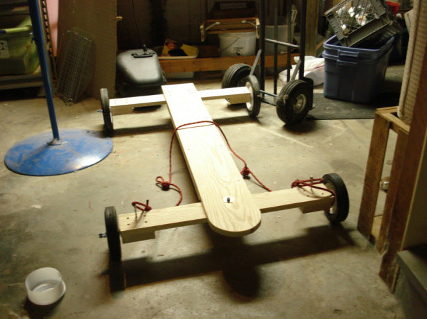 DIY wooden Go Cart in the garage