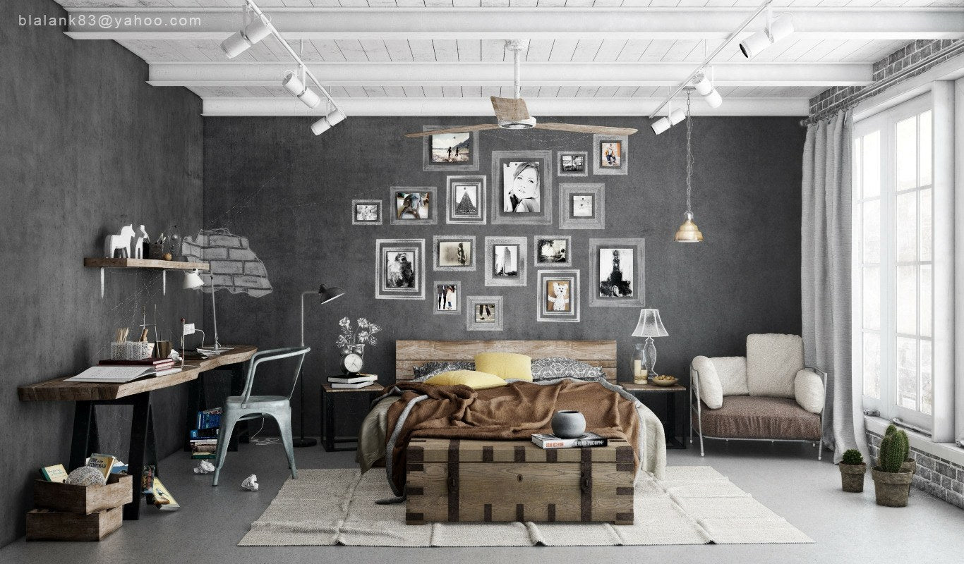Grey and white bedroom with solid wood desk and wooden plank headboard, plus lots of photos on the wall above the bed